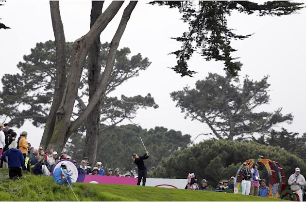 Suzann Pettersen, center, of Norway hits from the third tee of the Lake Merced Golf Club during the first round of the Swinging Skirts LPGA Classic golf tournament on Thursday, April 24, 2014, in Daly