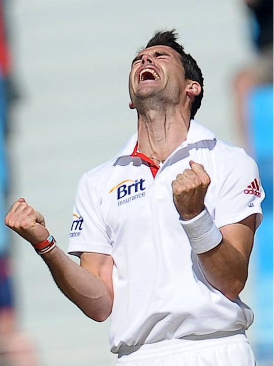England's cricketer James Anderson celebrates after he dismissed Pakistan's cricket captain Misbah-ul Haq (unseen) during the first day of the third and final Test match between Pakistan and England a
