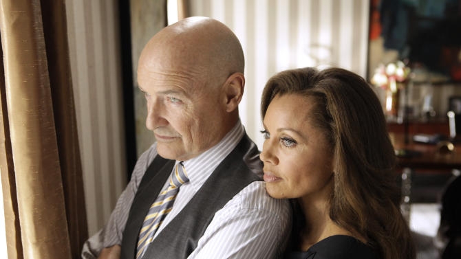 """FILE - This publicity file image released ABC shows Vanessa Williams as Olivia Doran, right, and Terry O'Quinn as Gavin Doran in a scene from the ABC series, """"666 Park Avenue,"""" which premiered on ABC on Sunday, Sept. 30, 2012. ABC canceled two low-rated new TV series, """"Last Resort"""" and """"666 Park Avenue,"""" and didn't announce Friday, Nov. 16, 2012, what will replace the two series after they finish airing. (AP Photo/ABC, Patrick Harbron, File)"""