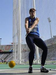 Moldova's Marina Marghieva competes during the women's group A hammer throw qualifications at the 2010 European Athletics Championships at the Olympic Stadium in Barcelona on July 28, 2010.AFP PHOTO / PIERRE-PHILIPPE MARCOU
