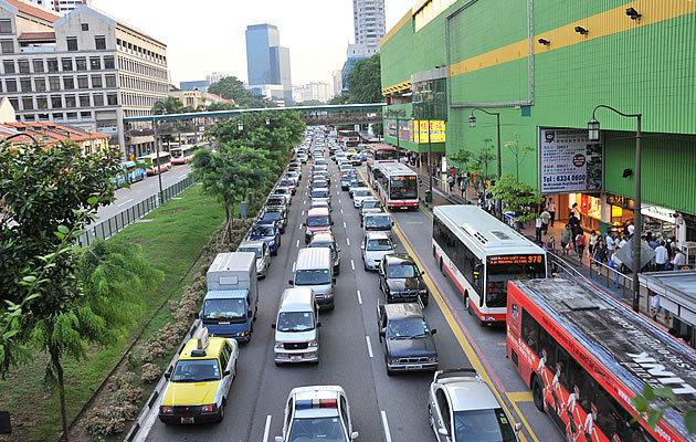 A traffic jam in Singapore