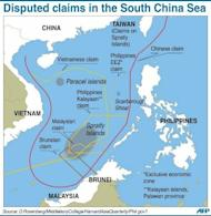 Graphic showing disputed sea border claims in the South China Sea. China and South Vietnam once administered different parts of the Paracels but after a brief conflict in 1974 Beijing took control of the entire group of islands. Vietnam holds several of the larger Spratly Islands
