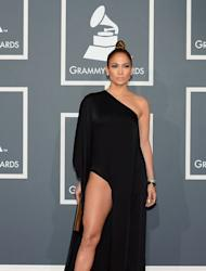 Jennifer Lopez arrives on the red carpet at the Staples Center for the 55th Grammy Awards in Los Angeles, California, February 10, 2013
