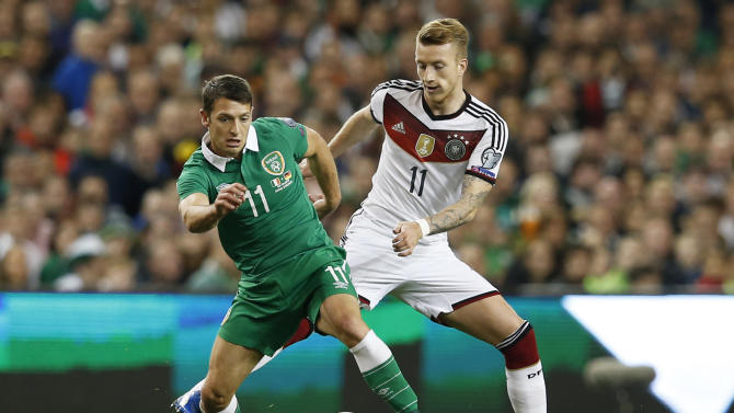 Germany's Marco Reus in action with Republic of Ireland's Wes Hoolahan