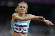 Kazakhstan's Olga Rypakova competes in the women's triple jump final at the athletics event during the London 2012 Olympic Games in London. Rypakova won gold