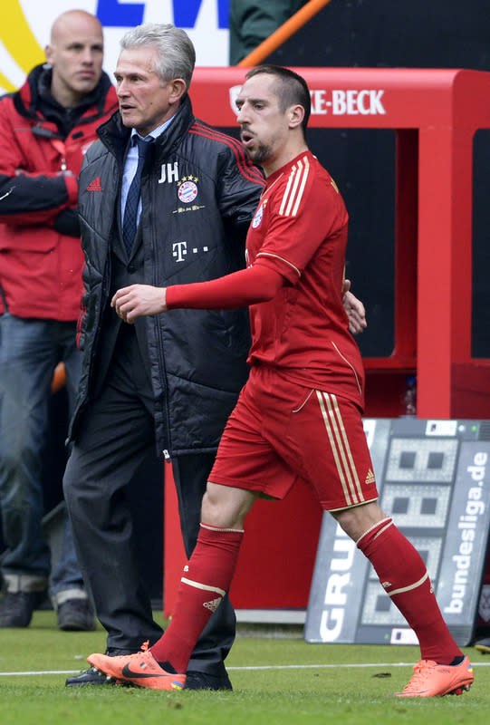Bayern Munich's Head Coach Jupp Heynckes (L) And Bayern Munich's French Midfielder Franck Ribery Celebrate     AFP/Getty Images