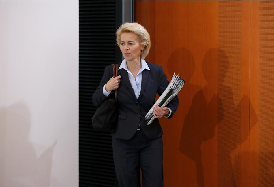 Germany's Defence Minister Leyen arrives to the cabinet meeting at the Chancellery in Berlin