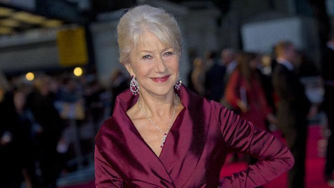 "FILE- British actress Helen Mirren in London, for the United Kingdom Premiere of 'The Debt', in this file photo dated Wednesday, Sept. 21, 2011.  Mirren is widely seen as a favorite to reign as best actress for her performance as Queen Elizabeth II in ""The Audience"", when the winners are announced later Sunday April 28, 2013, at London's Olivier theatre awards.(AP Photo/Joel Ryan, File)"