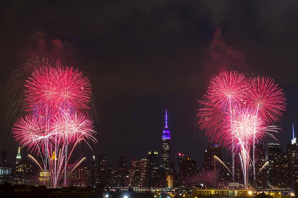 Macy's 4th of July Fireworks explode on the East River in New York