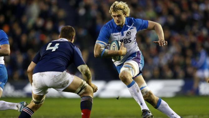 Scotland's Richie Gray takes on France's Pascal Pape during their Six Nations rugby union match at Murrayfield Stadium in Edinburgh Scotland