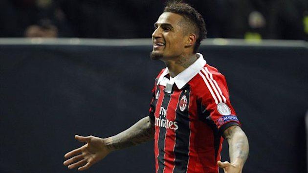 Kevin-Prince Boateng celebrates scoring for AC Milan against Barcelona