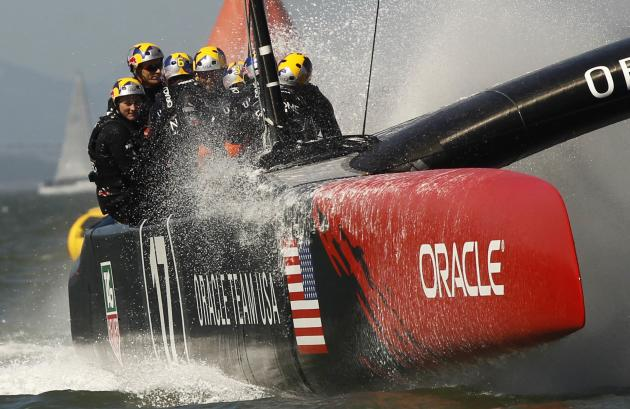 Oracle Team USA sails to victory against Emirates Team New Zealand during Race 18 of the 34th America's Cup yacht sailing race in San Francisco, California