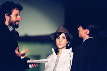 Writer/director Martin Hynes , Zooey Deschanel and Lou Taylor Pucci on the set of Peace Arch Entertainment's The Go-Getter