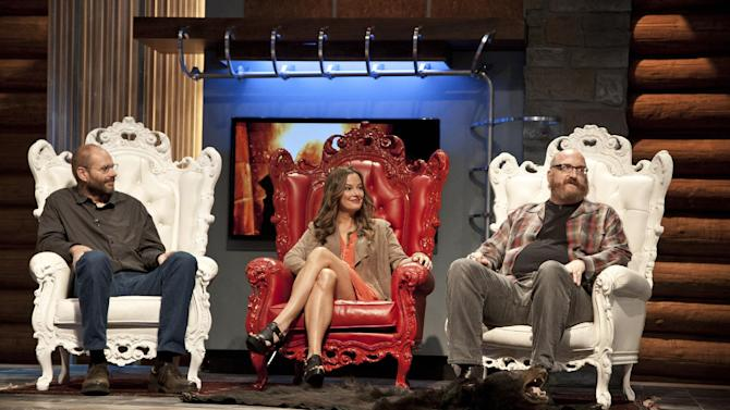 """This publicity image released by AMC shows, from left, Paul Rhymer, Catherine Coan and Brian Posehn, judges on the taxidermy competition series """"Immortalized,"""" premiering Feb. 14, 2013, at 10 p.m. EST on AMC. (AP Photo/AMC, Allan Amato)"""