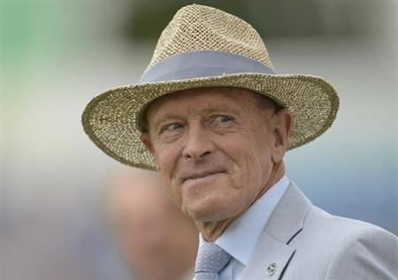 Former cricketer Geoffrey Boycott looks on during a lunchtime presentation during the second cricket test match between England and South Africa at Headingley cricket ground in Leeds August 2, 2012. REUTERS/Philip Brown