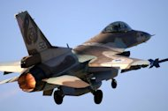 "An image released by the Israeli Defence Forces shows an F-16 warplane taking off from an undisclosed airport on April 26, 2005. The Israeli air force on Thursday shot down a drone from Lebanon off the northern coast of Israel in an incident described by Prime Minister Benjamin Netanyahu as ""extremely grave."""