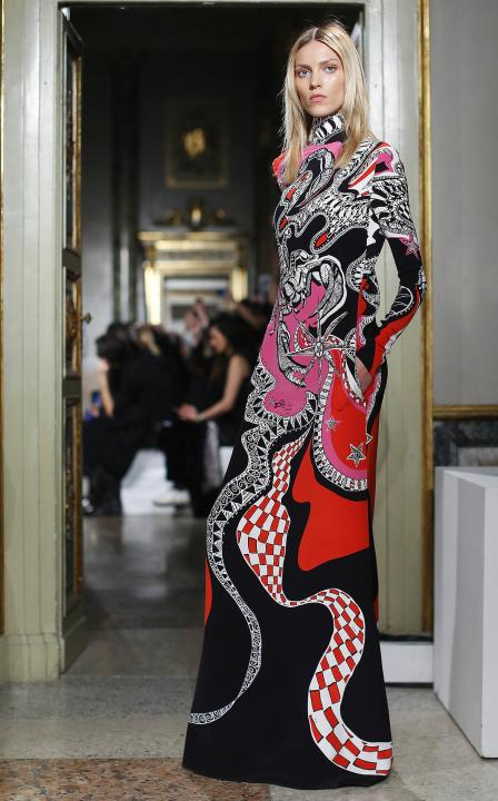 A model presents a creation from Emilio Pucci's Autumn/Winter 2015/16 collection during Milan Fashion Week
