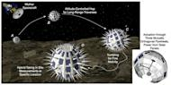 """This illustration depicts the Phobos Surveyor mission concept, which would land small, spiky """"hedgehog"""" probes on Mars' largest moon, Phobos, while a mother ship monitored the landers from nearby."""