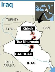 Map locating a series of attacks in Baghdad, Kirkuk and Tuz Khurmatu on january 16, 2013