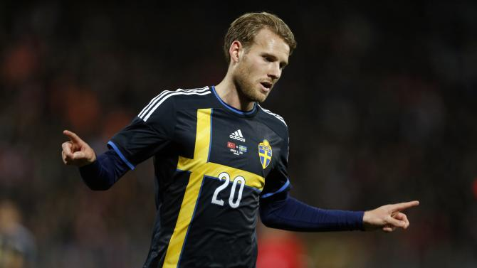 Sweden's Toivonen celebrates his goal against Turkey during their friendly match in Ankara