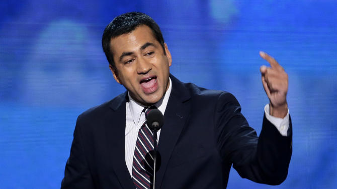 Actor Kal Penn addresses the Democratic National Convention in Charlotte, N.C., on Tuesday, Sept. 4, 2012. (AP Photo/J. Scott Applewhite)