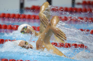 France's Yannick Agnel competes in a men's 200-meter freestyle swimming semifinal at the Aquatics Centre in the Olympic Park during the 2012 Summer Olympics in London, Sunday, July 29, 2012. (AP Photo/Mark J. Terrill)