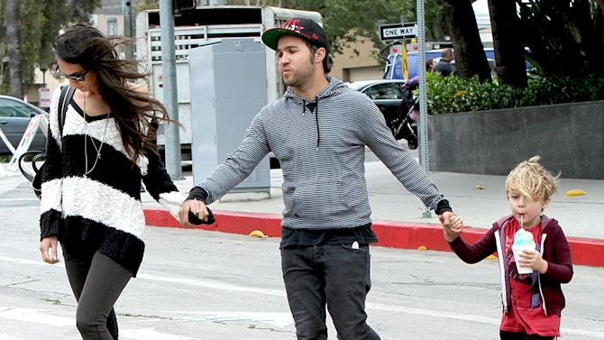 Pete Wentz spends some quality time with his son, Bronx, and girlfriend, Meagan Camper on Sunday afternoon in Los Angeles