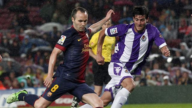 Liga - Barca close in on 100-point mark with Valladolid win