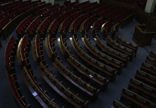 An empty hall of the Ukrainian Parliament is seen before a session in Kiev