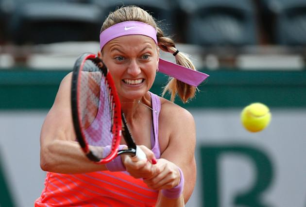 Czech Republic's Petra Kvitova on her way to the last 16 at the French Open after defeating in two sets Irina-Camelia Begu of Romania on May 30, 2015