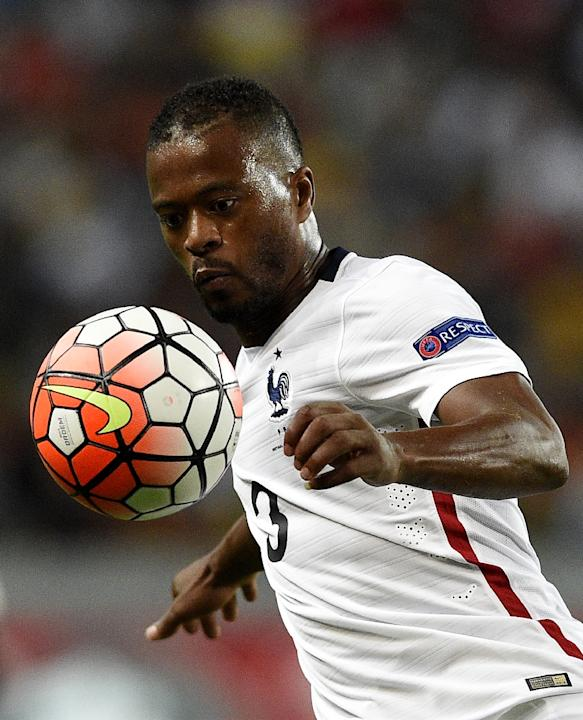 Patrice Evra, playing for France in a Euro 2016 friendly against Portugal on September 4, 2015