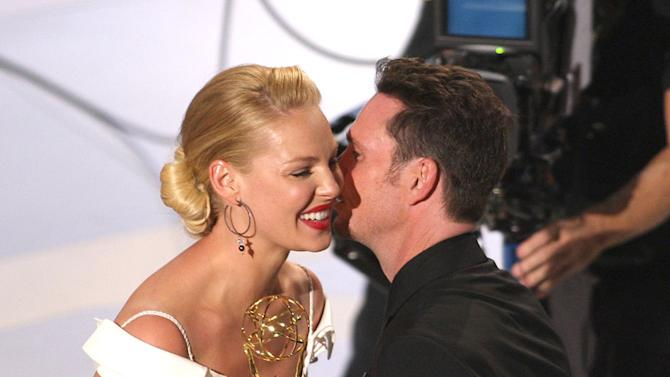 Katherine Heigl and Kevin Dillon during the 59th Annual Primetime Emmy Awards at the Shrine Auditorium on September 16, 2007 in Los Angeles, California.