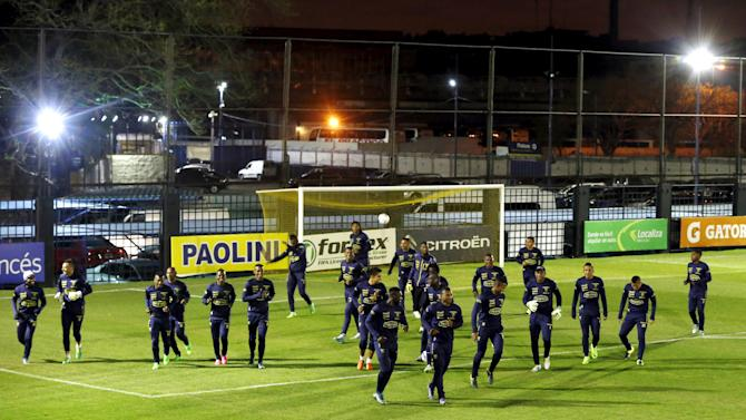 Ecuador's soccer players take part in a training session in Buenos Aires, Argentina