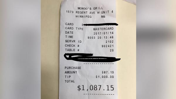 Waitress Who Works 2 Jobs 'Just to Get By' Brought to Tears by $1,000 Tip on $87.15 Bill