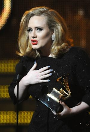 Adele speaks onstage after receiving her the Best Pop Solo Grammy award at the Staples Center during the 54th Grammy Awards in Los Angeles on February 12, 2012 -- Getty Premium