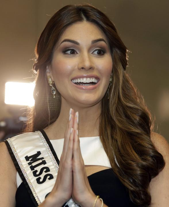 Miss Universe 2013 Gabriela Isler of Venezuela gestures during a press conference