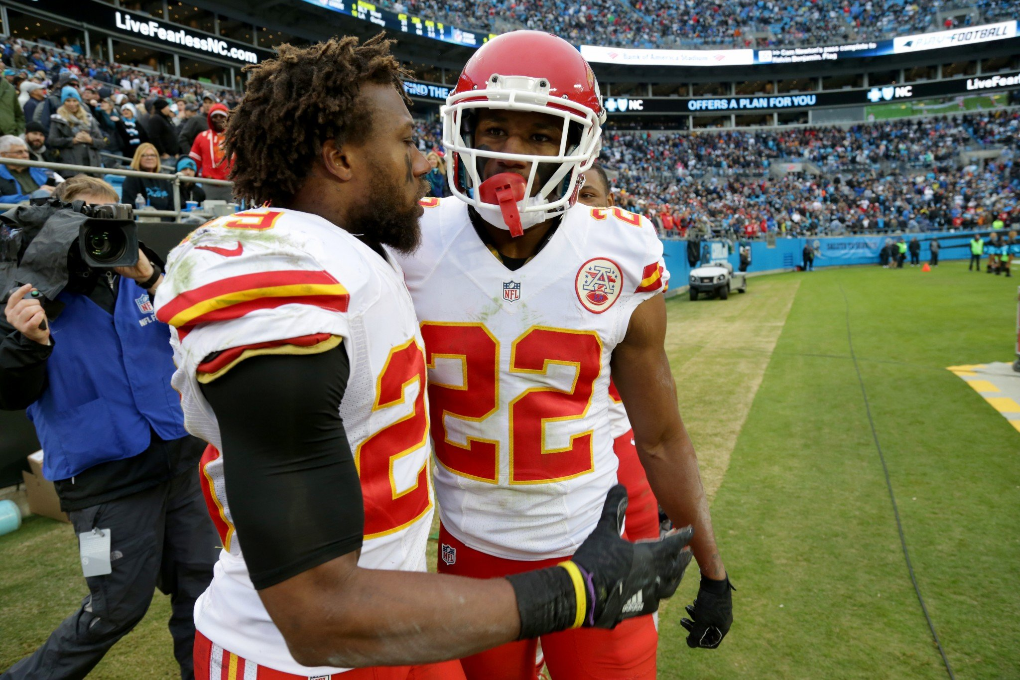 Men of the moment: Eric Berry and Marcus Peters stole a win for the Chiefs. (Getty Images)