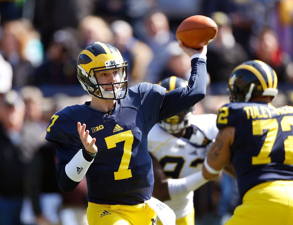Shane Morris threw for 454 in his Michigan career. (Getty)