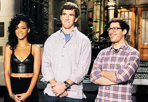Rihanna, Eli Manning and Andy Samberg | Photo Credits: Dana Edelson/NBC