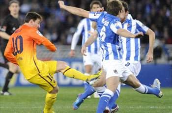 Real Sociedad 3-2 Barcelona: Battling Basques stun Blaugrana despite Messi milestone