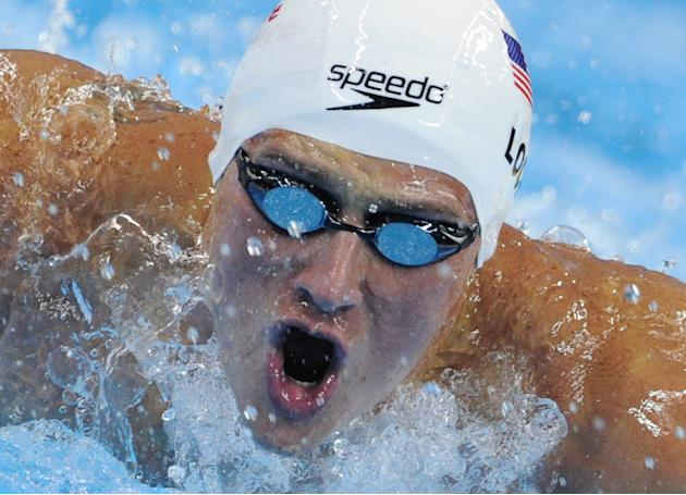 US swimmer Ryan Lochte  competes in the heats of the men's 200-metre individual medley swimming event in the FINA World Championships at the indoor stadium of the Oriental Sports Center in Shanghai on
