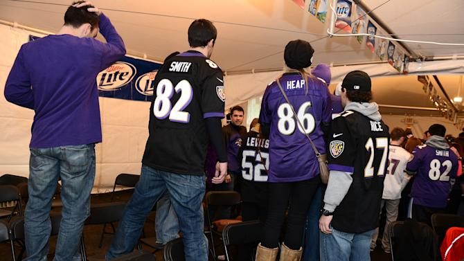 Ravens Fans Gather To Watch Super Bowl Against San Francisco
