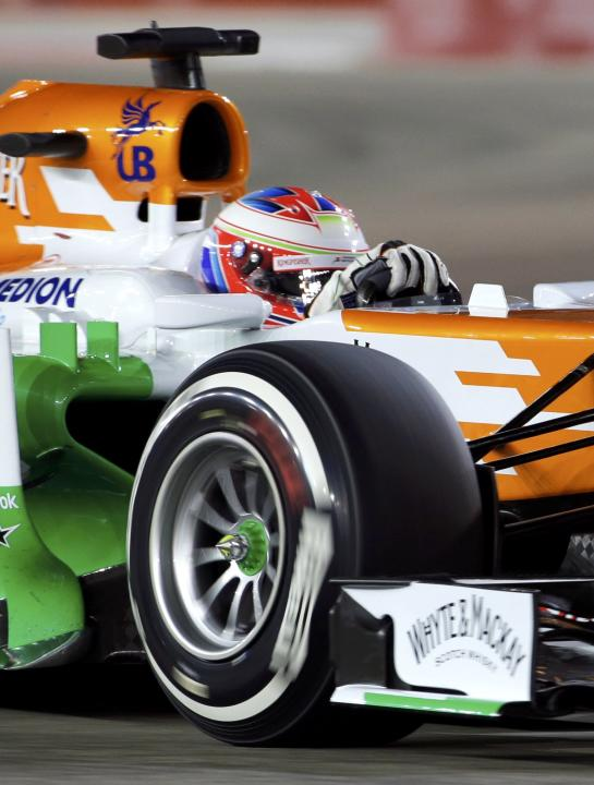 Force India Formula One driver di Resta drives during the qualifying session of the Singapore F1 Grand Prix in Singapore