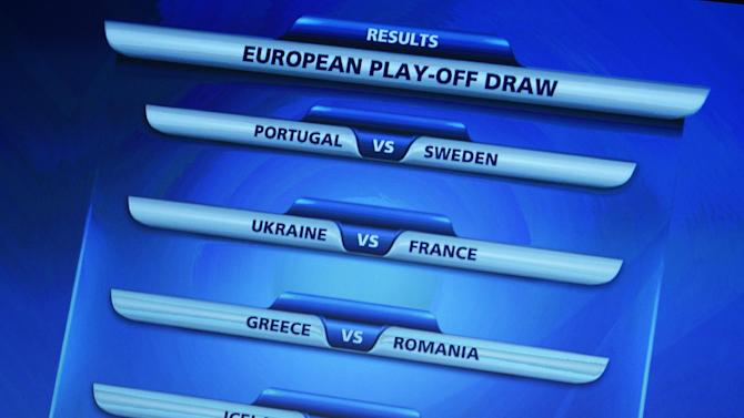 A screen shows the matches to be played during the draw for the 2014 FIFA World Cup European zone play-off matches on Monday, Oct. 21, 2013, at the FIFA headquarters in Zurich, Switzerland