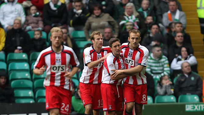 Liam Kelly, right, netted Kilmarnock's second goal at Parkhead