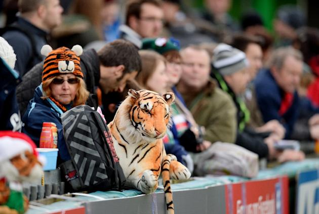 Leicester Tigers supporters look on ahead of the European Cup rugby union match in Leicester on December 8, 2013