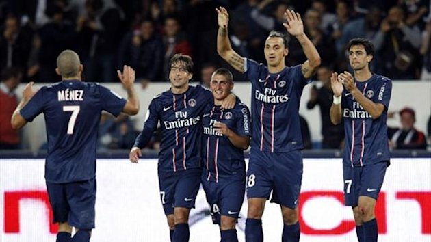 Paris St Germain's Zlatan Ibrahimovic (2nd R) celebrates with teammates Jeremy Menez (L), Maxwell (2nd L), Marco Verratti (C) and Javier Pastore his goal against Toulouse (Reuters)
