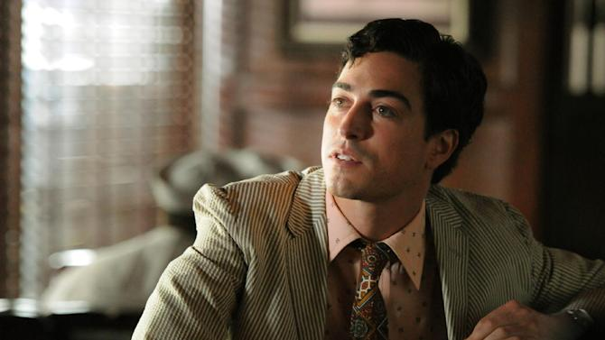 """This image released by AMC shows series newcomer Ben Feldman as Michael Ginsberg in a scene from """"Mad Men."""" On Thursday, July 19, 2012, the program received a total of 17 Emmy nominations including best actress in a drama series for Elisabeth Moss and best actor for Jon Hamm. The 64th annual Primetime Emmy Awards will be presented Sept. 23 at the Nokia Theatre in Los Angeles, hosted by Jimmy Kimmel and airing live on ABC. (AP Photo/AMC, Michael Yarish)"""