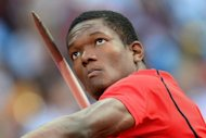 Trinidad and Tobago's Keshorn Walcott competes to win the gold medal in the men's javelin throw final at the athletics event of the London 2012 Olympic Games