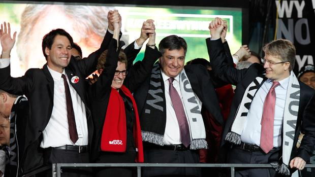 Kathleen Wynne will become Ontario's first female premier after securing key endorsements from, left to right, Eric Hoskins, Charles Sousa and Gerard Kennedy.